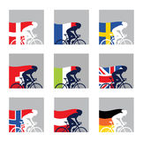 International competition. European cyclist with their country flags Stock Photos