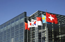 International conference. Site of the international conference,building with nationals flags Stock Image