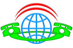 International Connections. International communication emblem with pair of connected dialing phones around globe isolated over white background Stock Photos