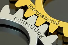 International Consulting concept on the gearwheels, 3D rendering Stock Photo