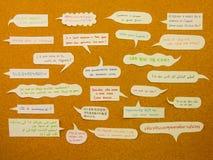 International Conversation  (Cork Board Background) Stock Image