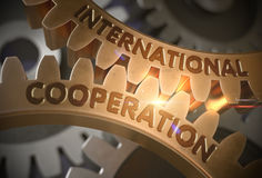 International Cooperation. 3D. International Cooperation on Mechanism of Golden Metallic Cogwheels with Glow Effect. International Cooperation - Concept. 3D Stock Images