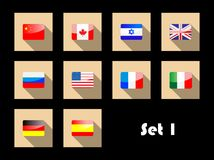 International country flags on flat icons Stock Photos