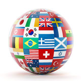 International country flags on the globe Royalty Free Stock Photography