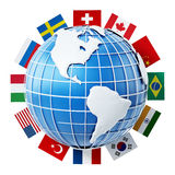 International country flags on the globe Stock Photography