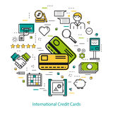 International Credit Cards - Line Art. Vector round concept of International Credit Cards or easy payment in thin line style. Two credit cards, businessman Stock Photography