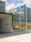 The International Criminal Court entrance and Flag Stock Images