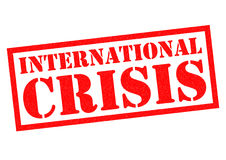 INTERNATIONAL CRISIS. Red Rubber Stamp over a white background Royalty Free Stock Image