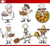 International cuisine chefs cartoons Stock Image