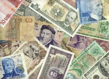 International Currencies. USA, Canada, Euro, Argentina, Uruguay, Brazil, Mexico, Peru, Israel, Egypt, Cuba, Philippines Royalty Free Stock Photo