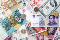 International currencies background Stock Photo