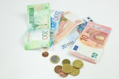 The background of different currencies. Money from different countries: the isolator of money from different countries. royalty free stock photo