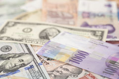International currencies banknotes Stock Photo