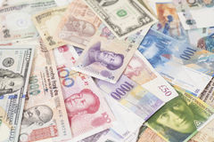 International currencies banknotes Royalty Free Stock Images