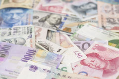 International currencies banknotes Royalty Free Stock Photo