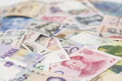 International currencies banknotes Stock Photos