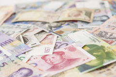 International currencies banknotes Stock Image