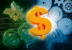 International currencies and gears. Industrial production make money Royalty Free Stock Image