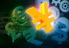 International currencies and gears. Industrial production make money Stock Images