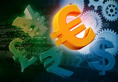 International currencies and gears. Industrial production make money Stock Photos