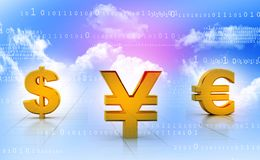 International currencies. On light blue background, dollar, yen and euro Royalty Free Stock Images