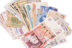 International currencies isolated Stock Photos