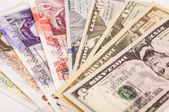 International currencies isolated Royalty Free Stock Photo