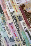 International currency. Notes of various denominations Royalty Free Stock Image