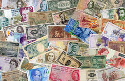 International currency. Background of international currency bills Royalty Free Stock Photos