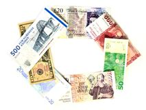 International Currency as a Chain. A selection of notes from America and Western Europe in the form of a linked chain, including a space for text Royalty Free Stock Photos