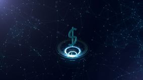 International currency dollar is on three virtual glowing circlers. Horizontal lines connected the whole sign. Space vector illustration