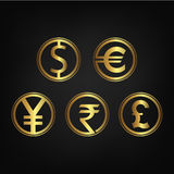 International currency icon collection Royalty Free Stock Image