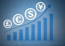International Currency icons on bar chart rising. Digital composite of International Currency icons on bar chart rising Stock Images