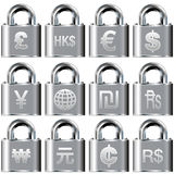 International currency icons on lock buttons Royalty Free Stock Photo