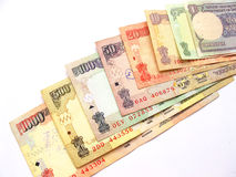 International currency-Indian Rupee. Close up of all indian currency notes Stock Image