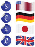 International currency labels with flags Stock Photography