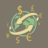 International currency money transfers. Stock  illustratio Royalty Free Stock Photo