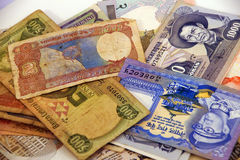 International currency notes Stock Images