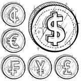 International currency symbol coins. Doodle style international currency symbol coins. Set includes American Dollar, Cent, Euro, French Franc, Japanese Yen, and Stock Image