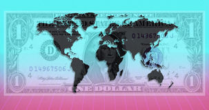 International Currency - World Map - US Dollar Royalty Free Stock Photos