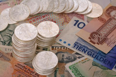 International currency and walking libery silver Stock Image