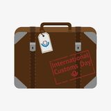 International customs day. Travel bag with red stamp. Flat  stock illustration Royalty Free Stock Photography