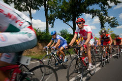 International cycle race. SIOFOK, HUNGARY -JULY 13 : Unidentified cyclists during an international cycle race on November 13, 2007 in Siofok, Hungary Royalty Free Stock Images