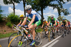 International cycle race. SIOFOK, HUNGARY -JULY 13 : Unidentified cyclists during an international cycle race on November 13, 2007 in Siofok, Hungary Royalty Free Stock Image