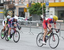 International cycling race. International competitions in cycling on the highway Horizon Park Race Maidan. Kiev. May 3, 2015 Royalty Free Stock Images