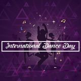 International Dance Day, 29 April. Group of people dancing and enjoying on music conceptual illustration vector Royalty Free Stock Photos
