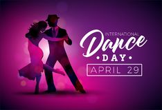 International Dance Day Vector Illustration with tango dancing couple on purple background. Design template for banner. Flyer, invitation, brochure, poster or stock illustration
