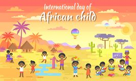 International Day of African Child Big Banner. With kids who read books, play with water, share fruits and air balloon in sky vector illustration Stock Photos