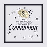 International Day Against Corruption. Creative banner or poster for International Day Against Corruption Royalty Free Stock Photo