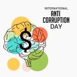 International Day Against Corruption. Creative banner or poster for International Day Against Corruption stock illustration